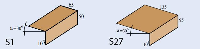 Размеры карнизных планок S1 и S27