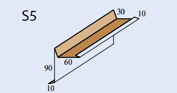 Размеры ветровой планки S5 для гибкой черепицы