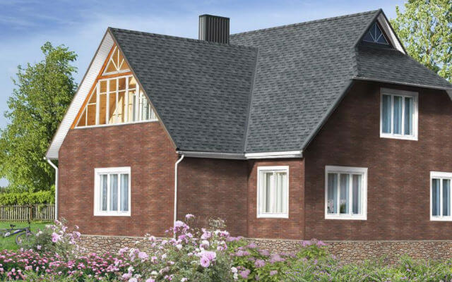 Фасад дома с плиткой Hauberk