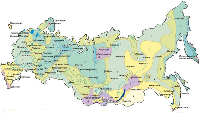 Карта для определения снеговых районов России